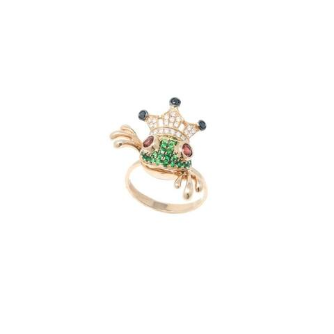 Rose Gold Diamond & Gemstone Frog Ring with Crown - 7