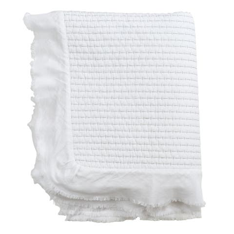 Cotton Throw with Quilted Design and Ruffle Trim
