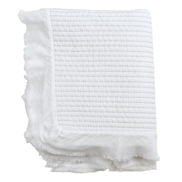 Cotton Throw with Quilted Design and Ruffle Trim. Opens flyout.