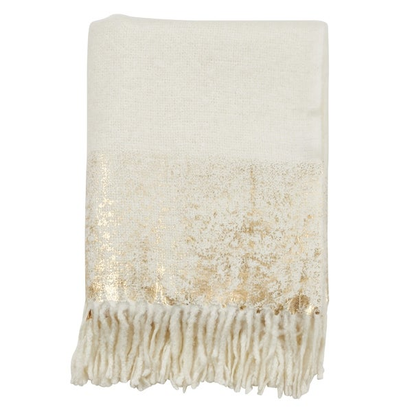 Faux Mohair Throw with Foil Print Design. Opens flyout.