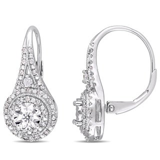 Miadora Sterling Silver 1/2ct TDW Diamond Double Halo Leverback Earrings