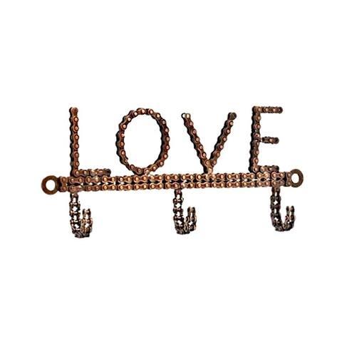 Handmade Bicycle Chain Love Wall Hook (India)