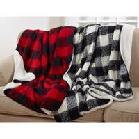 Buffalo Plaid Sherpa And Faux Mohair Throw