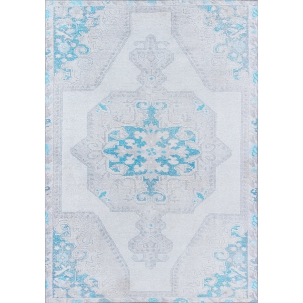 Momeni Afshar Machine Made Polyester Grey Area Rug - 2' x 3'