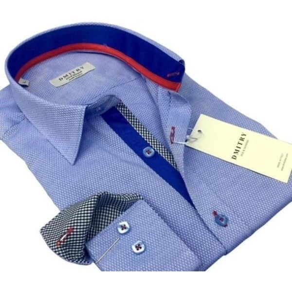 DMITRY Italian Cotton Mens Light Blue Textured Long Sleeve Dress Shirt