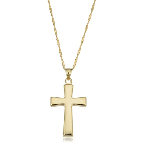 5a853f947828a4 14k Yellow Gold Cross Pendant Gold Filled Singapore Chain Necklace (18  inches)