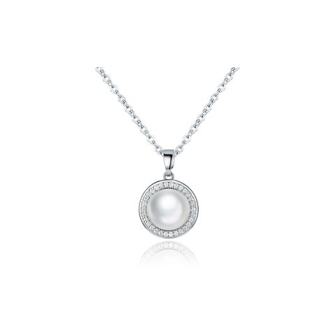Rhodium Plated Faux Pearl Necklace