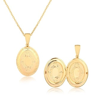 Gold Plated Gold Engraved Photo Locket Pendant Necklace