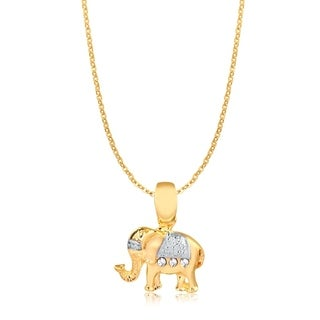 Gold Plated Two-Tone Elephant Pendant Necklace