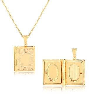Gold Plated Square Shape Gold Engraved Photo Locket Pendant Necklace