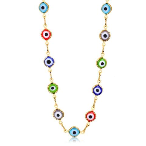 Gold Plated Gold and Multi Color Crystal Evil Eye Necklace