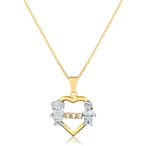 Gold Plated Two Tone Brother And Sister United Heart Pendant