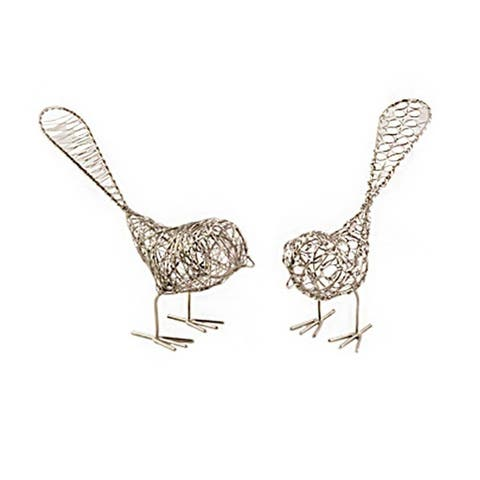 Handcrafted Set of Two Decorative Wire Birds (India)