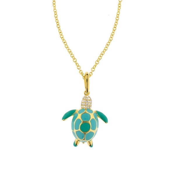 585ddc7b8 Shop 18K Gold Finish Crystal Eau Sea Turtle Pendant - Cool Teal ...
