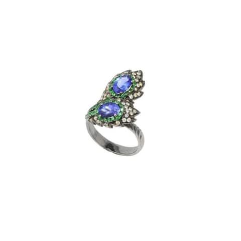 Rhodium Peacock Feather Diamond & Gemstone Ring - 7