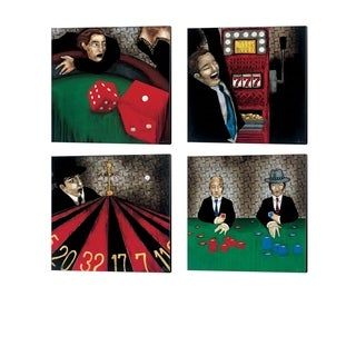 KC Haxton 'Craps, Let the Chips Fall, Jackpot & Spinning out of Control' Canvas Art (Set of 4)