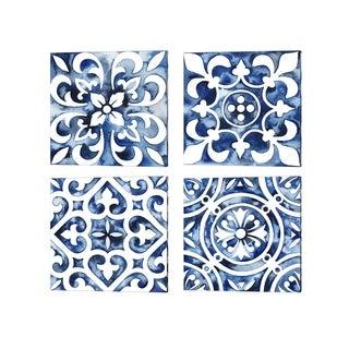 Grace Popp 'Cobalt Tile' Canvas Art (Set of 4)