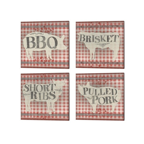June Erica Vess 'Gingham BBQ' Canvas Art (Set of 4)
