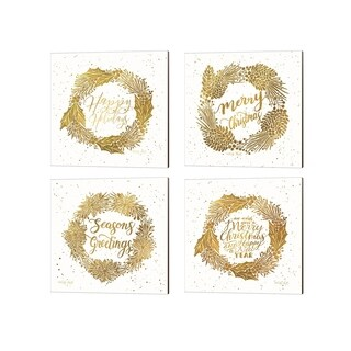 Cindy Jacobs 'Happy Holidays, Merry Christmas, Seasons Greetings & Happy New Year' Canvas Art (Set of 4)