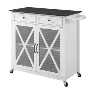 Plantation White Two Door Kitchen Cart EZ Assembly