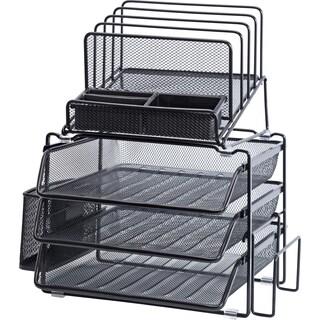 "Lorell Divided 4-tier Desktop Black Organizer - 15.8"" H"