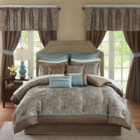 Madison Park Essentials Cadence 24-Piece Queen Size Room in a Bag-Window Panels & Sheet Set in Teal (As Is Item)