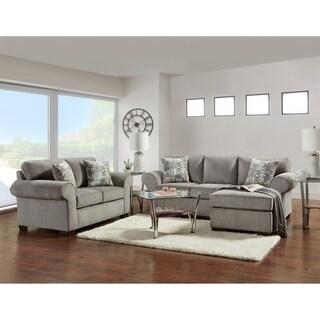 SofaTrendz Claire Nickel Grey Sofa Chaise & Loveseat Set