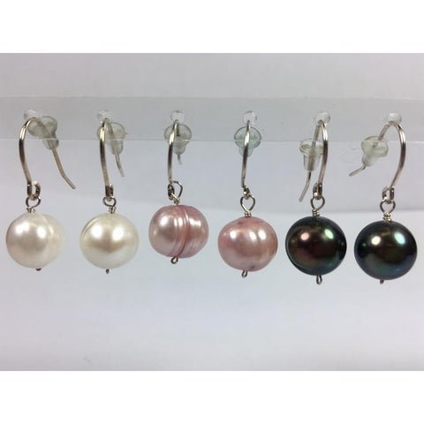 Pearl Lustre Cultured Colored Freshwater Earring set, in Sterling Silver. - N/A