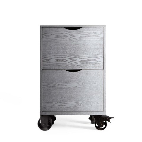 Grey File Cabinet Storage Unit with Casters