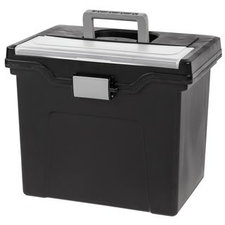 """Iris Portable Letter-size File Box - 13.8"""" L x 10.2"""" W x 11.7"""" H - Black"""