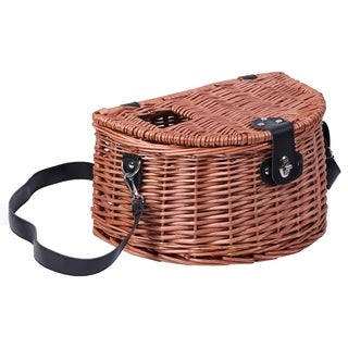 Wicker Fishing Creel with Faux Leather Shoulder Strap