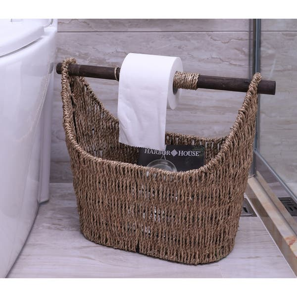 Shop Free Standing News Paper Toilet Paper Holder Basket With Wooden Rod Overstock 23386548
