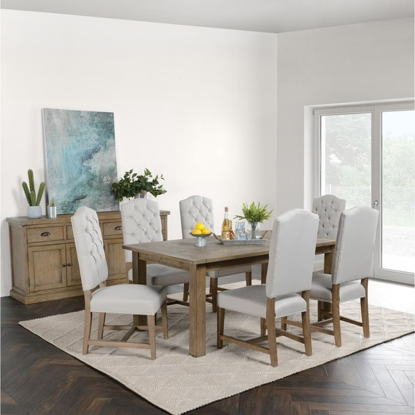 The Gray Barn Fairview Driftwood Reclaimed Pine 94-inch Extension Dining Table. Opens flyout.