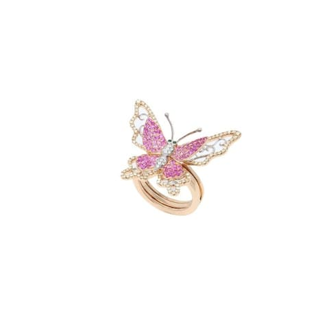 Rose Gold Pink Sapphire & Fancy Diamond Pave Butterfly Ring - 7