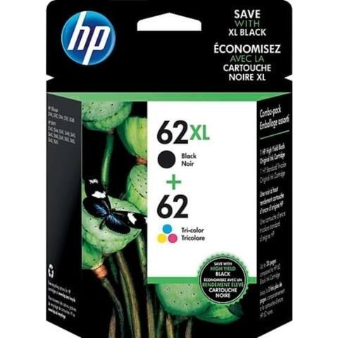 HP 62XL/62 High Yield Black Standard Tri-Color Ink Cartridges,N9H67FN