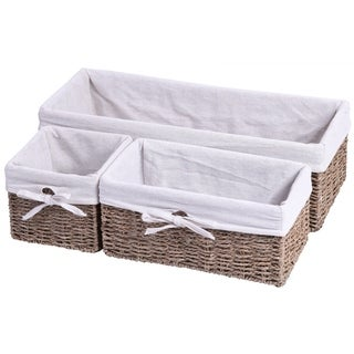 Seagrass Small Shelf Storage Basket with White Lining