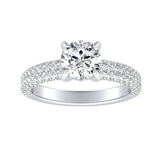 Auriya 14k Gold GIA Certified 1 1/3ct TDW Round Double Pave Diamond Engagement Ring