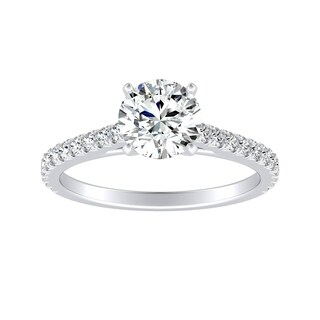 Auriya 14k Gold GIA Certified 3/4ct TDW French Pave Round Diamond Engagement Ring