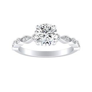Auriya 14k Gold GIA Certified 5/8ct TDW Stackable Vintage Inspired Round Diamond Engagement Ring