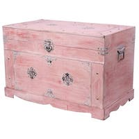 Victorian Whitewashed Distressed Wood, Antique Hardware Rustic Trunk