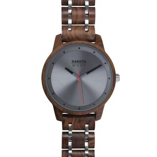 Dakota Genuine Red Sandalwood Wood and Steel Link Watch with Grey Dial