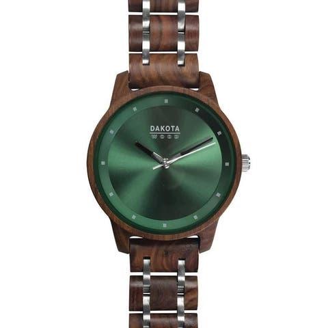 Dakota Genuine Red Sandalwood Wood & Steel Link Watch with Green Dial