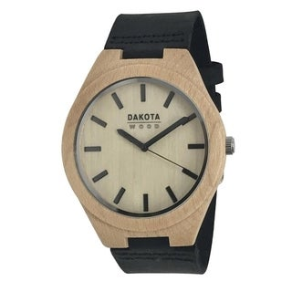 Dakota Genuine Maple Wood Watch with Black Leather Strap