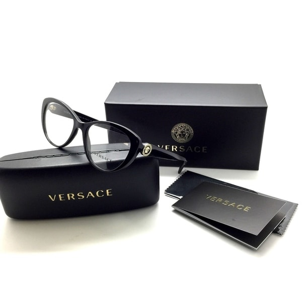 268deaab89 Shop Versace Shiny Black Cateye Crystal Emblem Eyeglasses MOD 3246 B GB1  Frame 52mm - Free Shipping Today - Overstock - 23386850