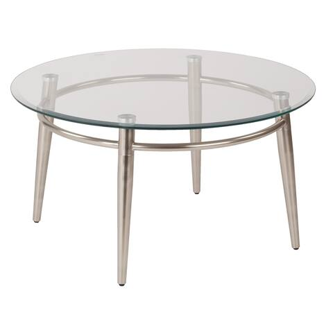 Mid Century Brooklyn Round Top Glass Coffee Table