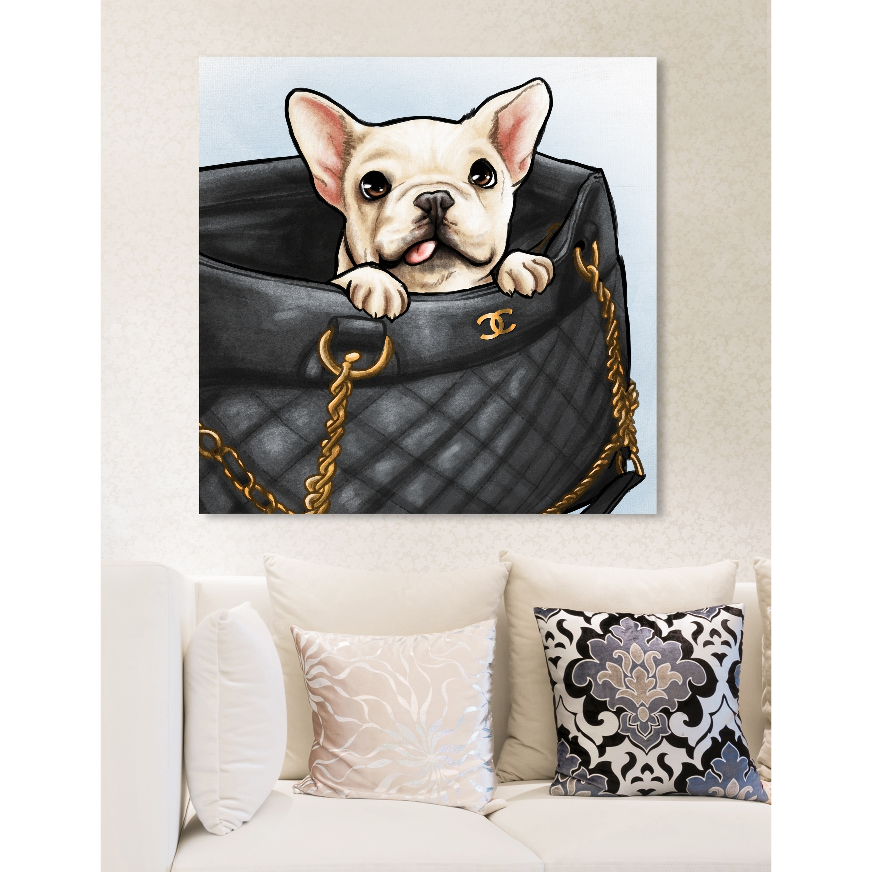 Oliver Gal Peek A Boo Frenchie Fashion And Glam Wall Art Canvas Print Black White Overstock 23386921