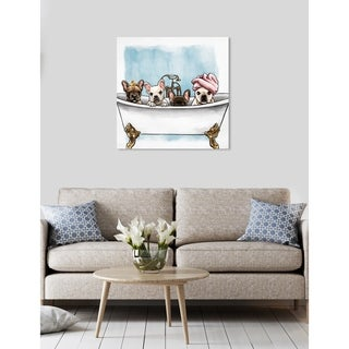 Oliver Gal 'Frenchies In The Tub' Animals Wall Art Canvas Print - White, Blue