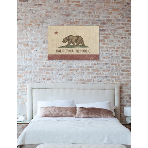 Oliver Gal 'CA Native' Maps and Flags Wall Art Canvas Print - Brown, Red