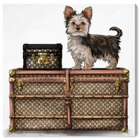 Oliver Gal 'Travelling Yorkie' Dogs and Puppies Wall Art Print on Premium Canvas - Brown