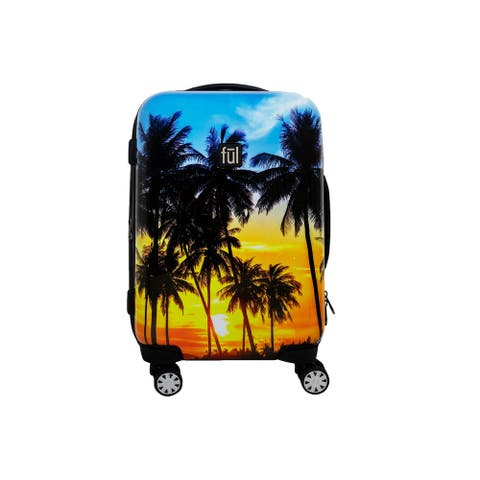 """Ful Printed Tropical Palm Sun 21in Hard Sided Rolling Luggage - 21"""""""